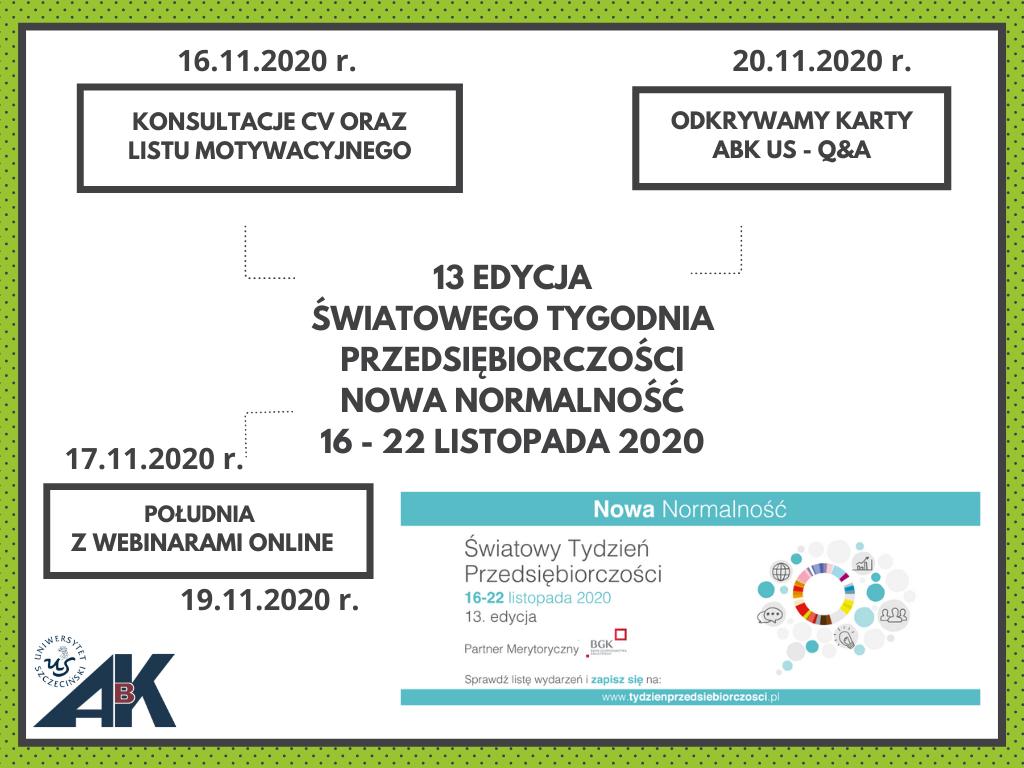 """13 Edycja Światowego Tygodnia Przedsiębiorczości 2020 – """"Nowa normalność"""""""
